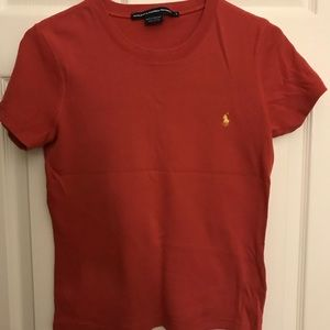 Maroon and yellow polo t shirt size large